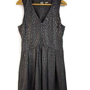 Guess A Line Black Leopard Print Fit n Flare Dress
